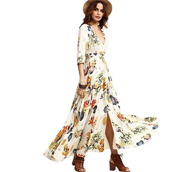 eb10a38153b Dresses   Skirts - Women s Button Up Split Floral Flowy Maxi Dress